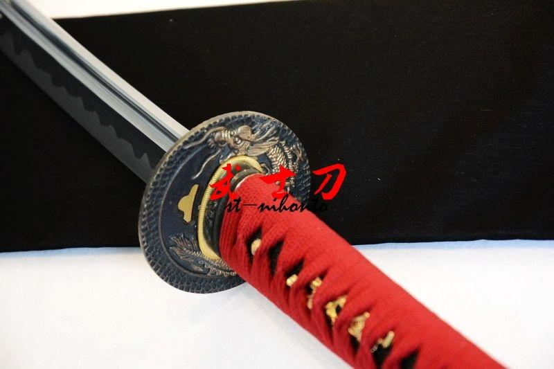 Handmade 1060 Carbon Steel Full Tang Unsharp Blade Japanese Iaido Training Katana Sword Dragon Tsuba