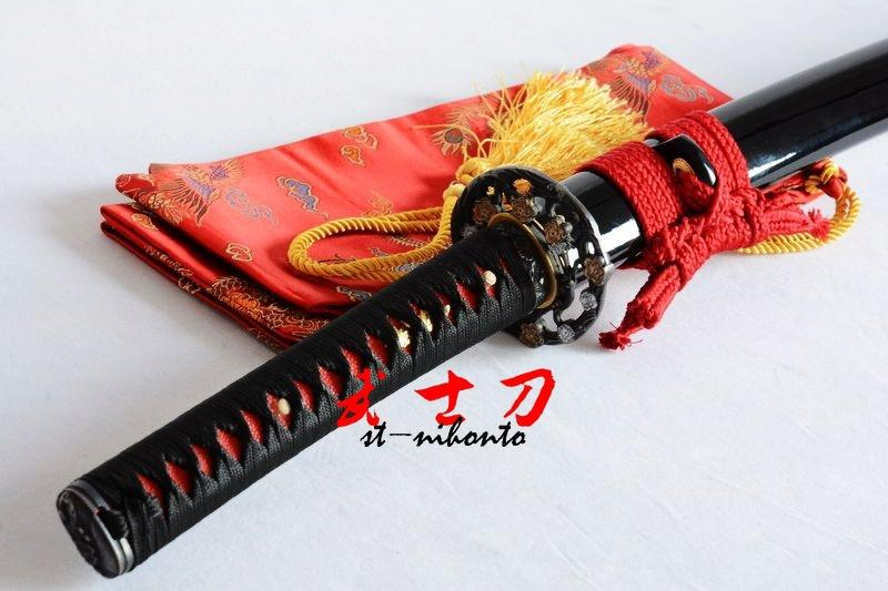 Handmade 1060 Carbon Steel Full Tang Unsharp Blade Japanese Iaido Training Katana Sword Flower Tsuba