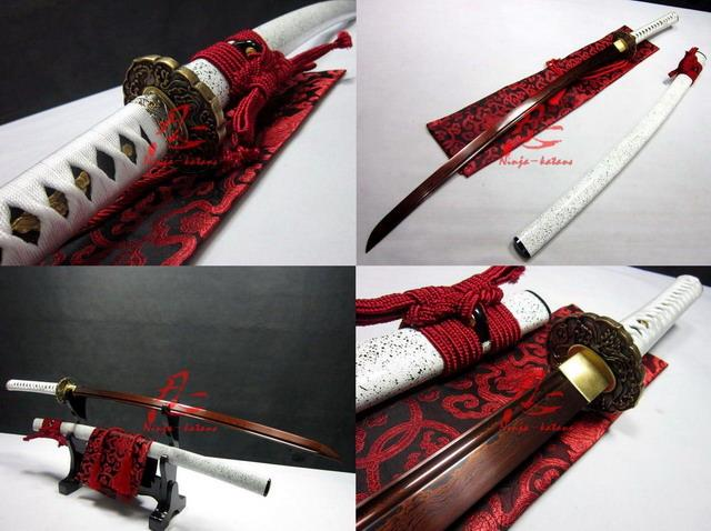 Handforged Red Blade Wave Tsuba Titanium Adsorb Folded Steel Sharpened Sword