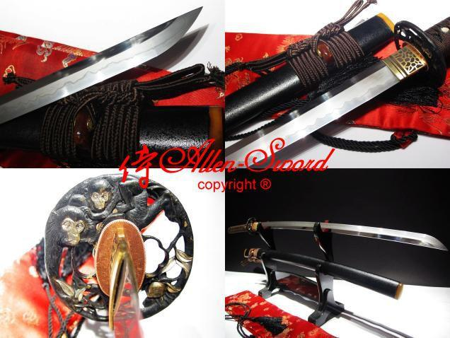 High Quality Clay Tempered Blade Japanese Katana Monkey Tsuba Battle Ready Sword