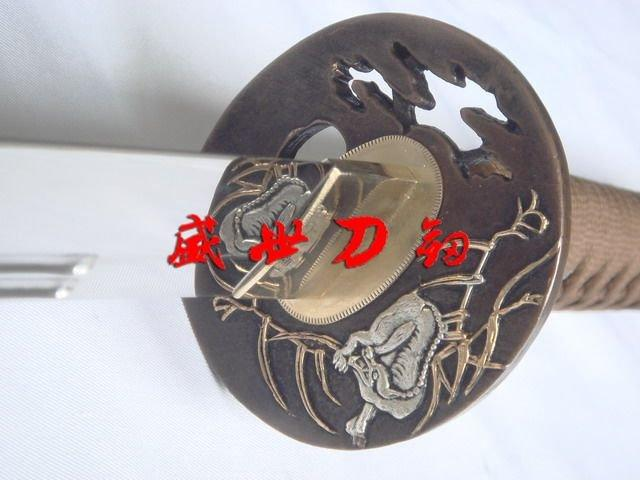 Clay Tempered Double Groove T-10 Steel Katana Wolf Tsuba Fully Functiona Sword