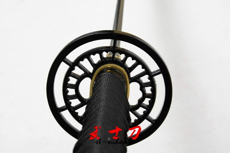 Handmade Japanese Black Samurai Katana Wheel Tsuba Sword Full Tang Blade Very Sharp