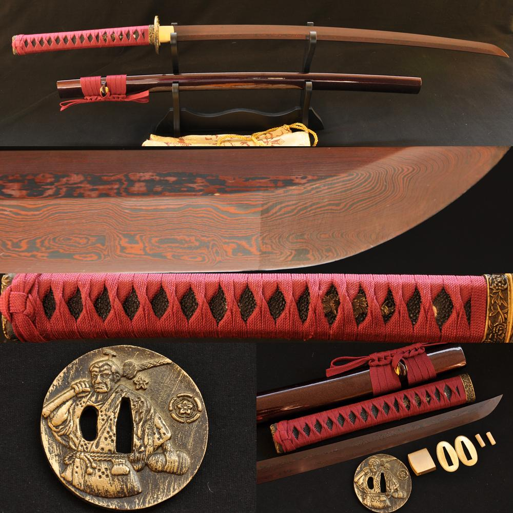 Japanese Samurai Sword Katana Black Red Folded Steel Blade Warrior Brass Tsuba