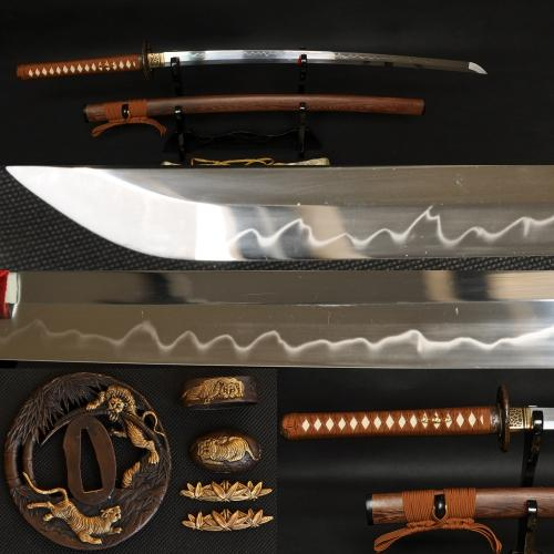 41 Inch Handmade Japanese Samurai Tiger Sword Katana Clay Tempered Full Tang Blade