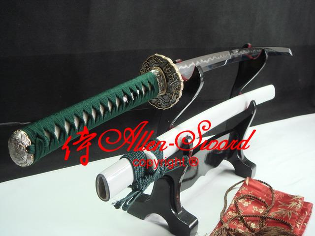 Battle Ready Japanese White Katana Silver Wave Tsuba Clay Sanmai Blade Sharpen Work Blade