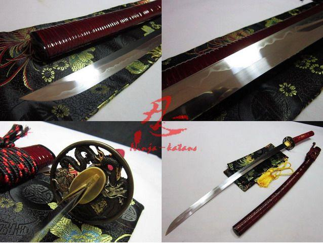 Clay Tempered Battle Ready Katana Shobu Zukuri Kissaki Rattan Red Saya Sharpened Sword