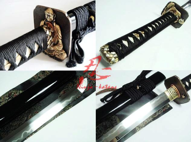 Battle Ready Clay Tempered Kobuse Blade Japanese Katana Sword Buddha Tsuba Sword