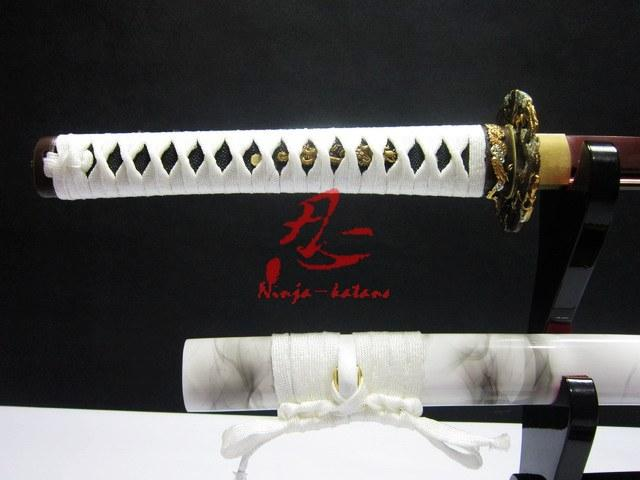 Battle Ready Japanese Samurai Katana Dragon Tsuba Katana Sword White Sheath Sharpened