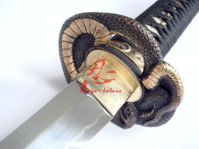 Clay Tempered 1095 Steel Blade Katana Snake Tsuba Razor Sharp