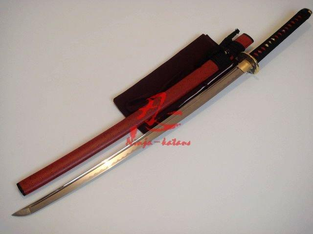 Handforged Jp Warrior Tsuba Katana Red Saya Blunt Edge