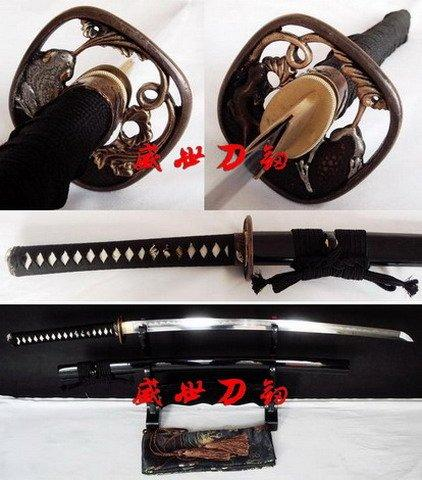 Battle Ready Clay Tempered Japanese Samurai Katana Frog Tsuba Sharpened Blade