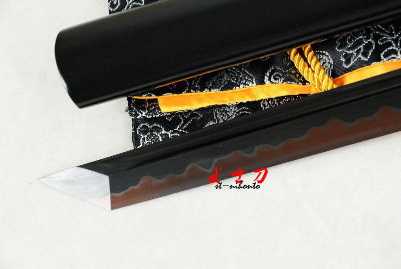 Handmade Clay Tempered High Carbon Steel Blade Black Ninja Sword Tungsten Adsorb Sword