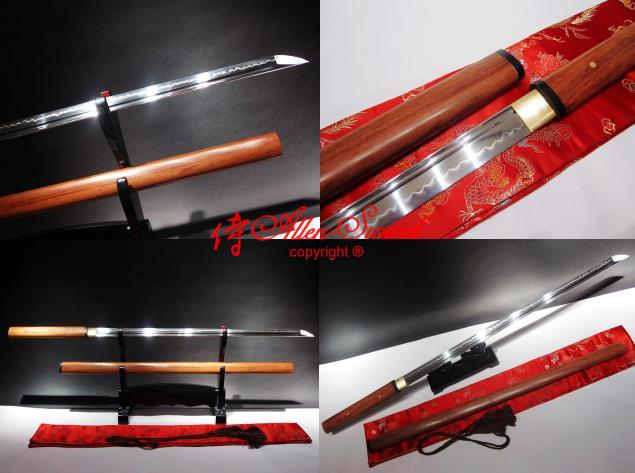 Clay Tempered 1095 High Carbon Steel Japanese Ninja Sword Redwood Sheath Sword