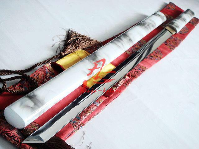 Handmade 9260 Spring Steel Blade Battle Ready White/Black Ninja Sword