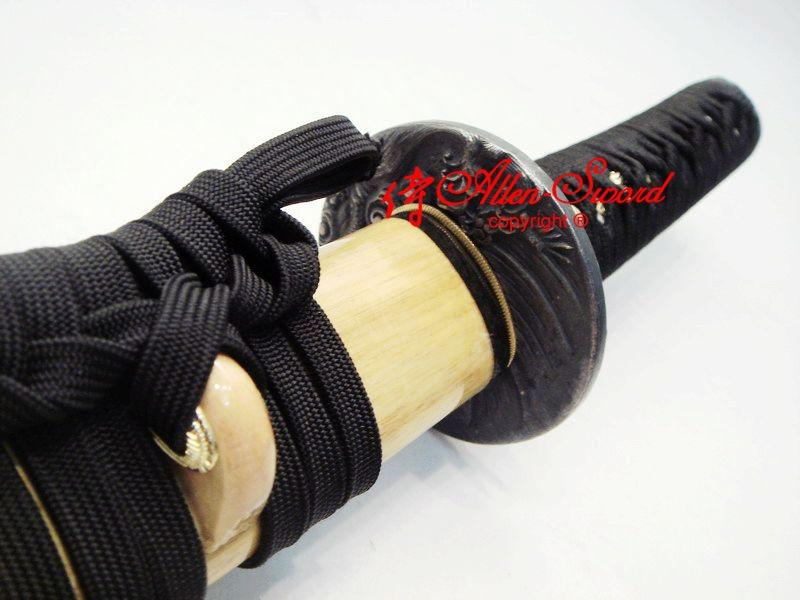 Handmade Japanese Wakizashi Katana Black Dragon Tsuba Sword Full Tang Blade For Shipping Cost